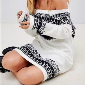 Petite Fairisle Sweater Dress (Off Shoulder)